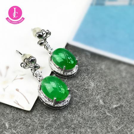 蝶戀陽綠翡翠耳環 (18k真金真鑽)