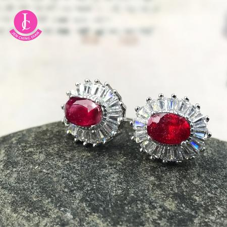 紅寶石925銀耳環
