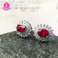 紅寶石925銀耳